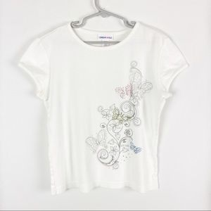 Limited Too White Rhinestone Butterfly Tee